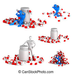 Set of 3d unhealthy man with spills and bottle on a white...