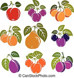 Set of 3d vector ripe fruits and berries with green leaves, fruity trees design elements isolated on white background.
