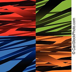 Set of 4 abstract background with random, distorted shapes.