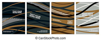Set of 4 abstract wave line for backgrounds, posters or covers design. Simple template in green, yellow, black and white colors.