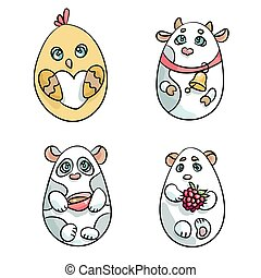 Set of 4 animals in a shape of Easter Egg