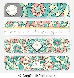 Set of 4 banner . Mandala geometric pattern template