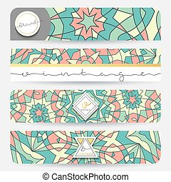 Set of 4 banner . Mandala geometric pattern template