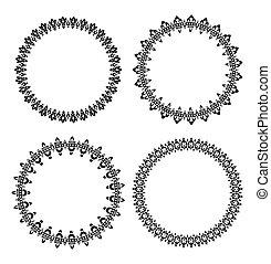 Set of 4 black round frames for your design