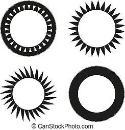 Set of 4 black sun like ornaments