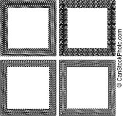 Set of 4 black vector square frames in tire traces style