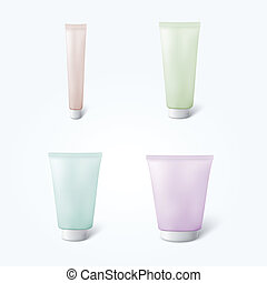 Set of 4 blank cosmetic tubes