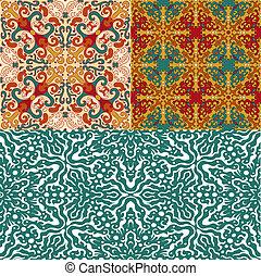 Set of 4 bright abstract seamless patterns