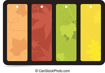 Set of 4 brightly colored autumn ba