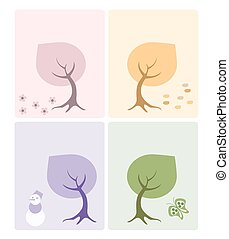 Set of 4 cards with season's trees.