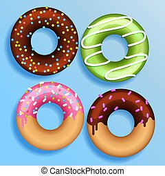 Set of 4 color donuts in modern flat style. Donut isolated for your design. Vector color illustration