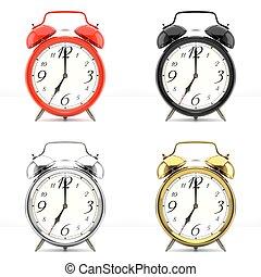 Set of 4 colorful alarm clocks