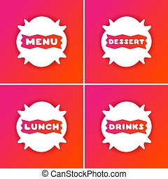 Set of 4 colorful menu cards for cafe.