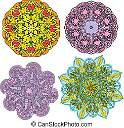 Set of 4 colorful round ornaments, kaleidoscope floral patterns.