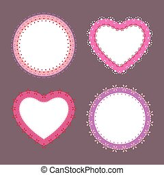 Set of 4 cute lace border heart and round labels, vector illustration