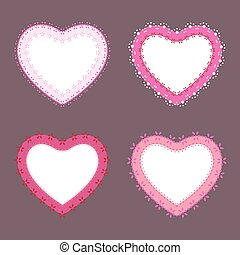 Set of 4 cute lace border heart labels, vector illustration