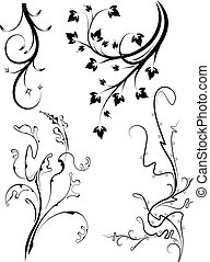 Set of 4 decorative floral branches.
