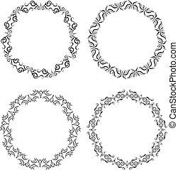 Set of 4 decorative vector round frames