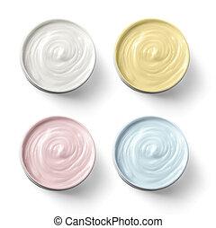 Set of 4 different cosmetics cream