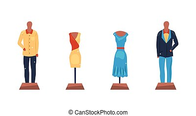 Set of 4 different men and women clothes on a mannequins. Short and long elegant design dresses and 2 kinds of suits collection. Flat style. Vector illustration