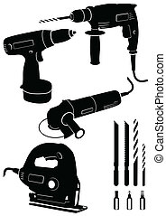 Set of 4 different power tools.