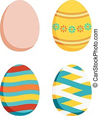 Set of 4 Easter eggs - plain and 3