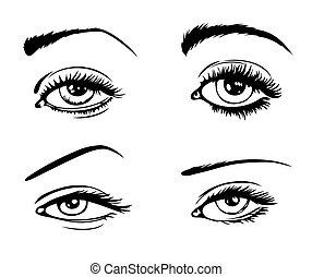 4 female eyes - set of 4 female eyes