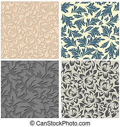 4 Floral Seamless Patterns
