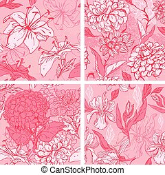 Set of 4 Floral Seamless Patterns in pink colors with handdrawn