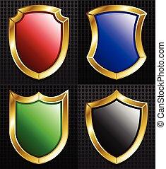 Set of 4 Gold Framed Shields