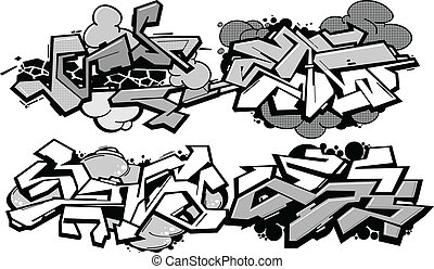 Set of 4 graffiti compositions