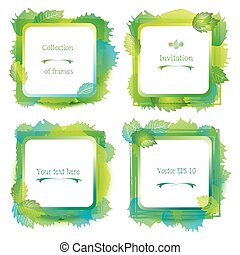 Set of 4 green leaf labels - watercolor forest frame, grunge paint with splashes and blotch. Vector artistic borders.