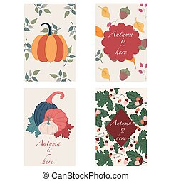 Set of 4 greeting cards, with autumn elements. Pumkins, leaves, peanuts, vector elements