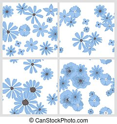 Set of 4 Hand drawn floral patterns