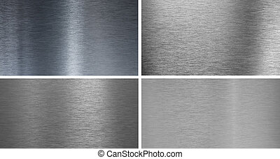 Set of 4 high quality smooth brushed  metal textures