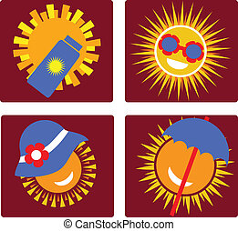 set of 4 icons for sun protection - set of 4 icons of sun...