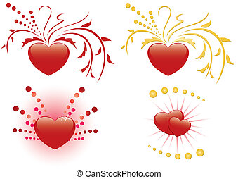 set of 4 illustrations of red heart