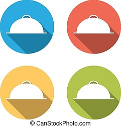 Set of 4 isolated flat buttons (icons) for meal