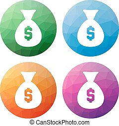 Set  of 4 isolated modern low polygonal buttons - icons - for bag of money with dollar sign