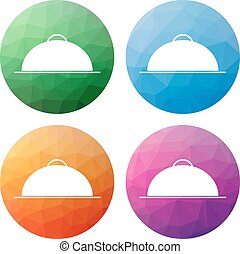 Set  of 4 isolated modern low polygonal buttons - icons - for meal, restaurant, pub