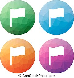 Set of 4 isolated modern low polygonal buttons - icons - for waving flag