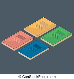 Set of 4 isometric books