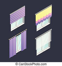 Set of 4 isometric windows with different curtains