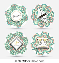 Set of 4 label with the mandala . Collection sticker mandalas.