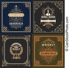Set of 4 labels. Western style