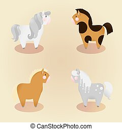 set of 4 little cute pony