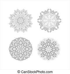 Set of 4 mandalas. Black and white image. Vector illustration Vintage decorative elements. Boho, hippie style background design.