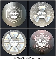 Set of 4 music album cover templates. Abstract backgrounds. Geometrical patterns