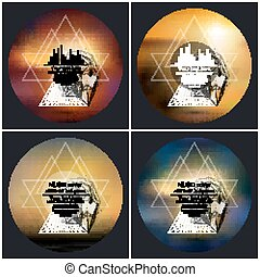 Set of 4 music album cover templates. Abstract multicolored backgrounds. 3D vector pyramids