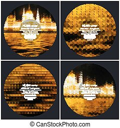 Set of 4 music album cover templates. Night city landscape. Abstract multicolored backgrounds. Natural geometrical patterns. Triangular and hexagonal style vector illustration